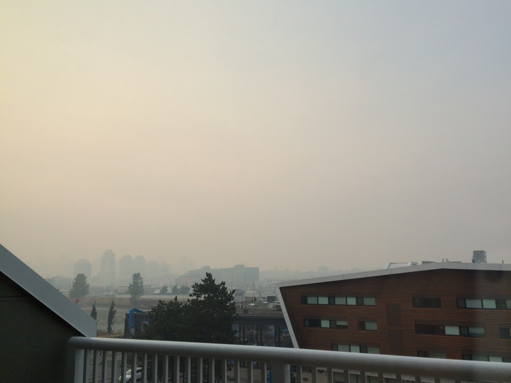 Looking north from Mount Pleasant, downtown Vancouver obscured by wild fire smoke (Photo: CCPA-BC)