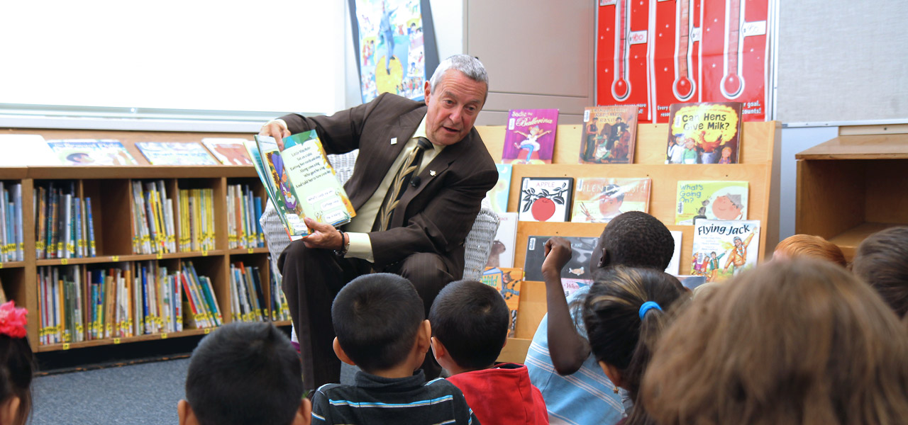 BC Education Minister Peter Fassbender at Mary J. Shannon Elementary school.