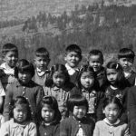 Photo of Japanese Canadian elementary school students at Pine Crescent Elementary School, Bay Farm, BC. The BC Government refused to pay for the education of these students.