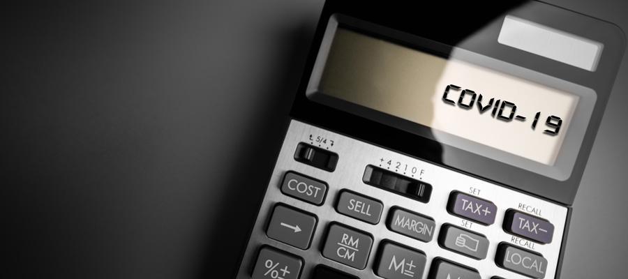 """A calculator displaying the text """"COVID 19."""""""